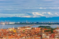 Bridge between the island and Venice Mestre, Italy. View from Campanile di San Marco to bridge between the island and the mainland of Venice Mestre, the seaport Stock Photos