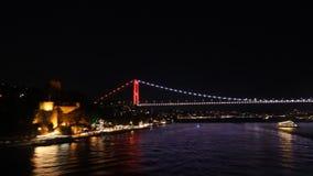 Bridge in Istanbul at night stock video