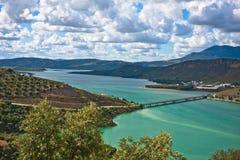 Bridge on the Iznajar Lake, Cordoba, Spain Stock Photo