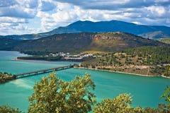 Bridge on the Iznajar Lake, Spain Royalty Free Stock Photos