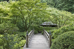 Bridge at Japanese Garden. Bridge at Portland Japanese Garden in Spring stock images