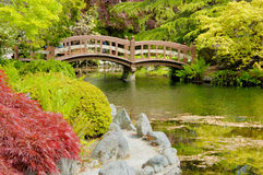 Bridge in japanese garden (2) Royalty Free Stock Photos