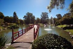 Bridge in Japanese garden stock photos