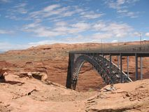 Bridge joing mesas over Lake Powell Reservoir Stock Photography