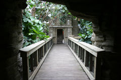 Bridge in the Jungle. A bridge in a zoo that brings you through an attraction Stock Images