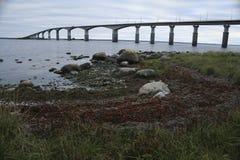 The bridge between Kalmar and Öland is 9 km long stock photo