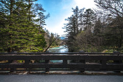 A bridge at Kamikochi. A bridge in the horizon with forest and stream in the centre at Kamikochi Stock Images