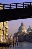 bridge kanalfoten venice Royaltyfri Fotografi
