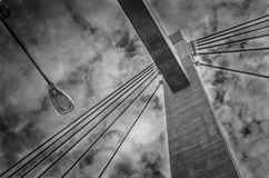 Karkinen Bridge, Jyvaskyla, Finland. Span of Karkinen Bridge in Jyvaskyla, Finland in black and white against cloudy skies Stock Image