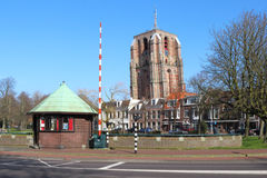 Bridge keeper's house and tower, Leeuwarden. The monumental Oldehove is an unfinished church tower in the medieval centre of the Dutch city of Leeuwarden. It royalty free stock photo