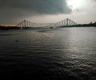 Bridge, kolkata clude raining offlight Stock Image