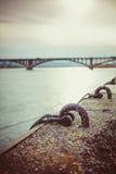 Bridge in Krasnoyarsk across the Yenisei River.  Stock Images