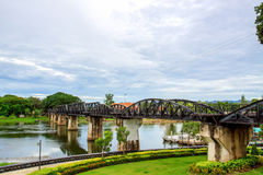 Bridge of the Kwai river in Thailand Royalty Free Stock Photos