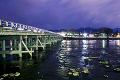 Bridge in Kyoto with long exposure. With river and beautiful sky Stock Photo