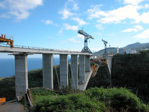 Bridge La Palma north side. Bridge under construction where the ends are about to meet Royalty Free Stock Photography