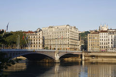 The bridge Lafayette in Lyon at morning Stock Photography