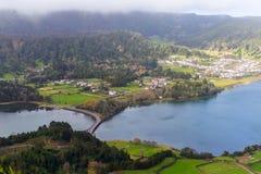 Bridge on lagoa Sete Cidades, the Azores Stock Image