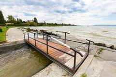 Bridge at Lake Balaton, freshwater lake in Transdanubian, Hungary, largest lake in Central Europe. Bridge at Lake Balaton, freshwater lake in Transdanubian stock photo