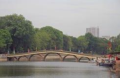Bridge through lake in the downtown of Hanoi Stock Image