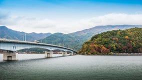 Bridge Of Lake Kawaguchiko. In autumn season Stock Photos