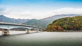 Bridge Of Lake Kawaguchiko. In autumn season Royalty Free Stock Photos
