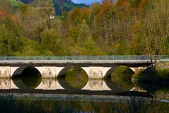 Bridge  lake reflection. Bridge lake reflection fall autum Royalty Free Stock Image