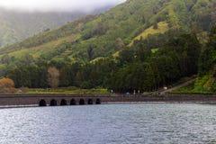 Bridge on lake Sete Cidades, the Azores Stock Photo