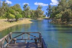 The bridge on the lake. Royalty Free Stock Image