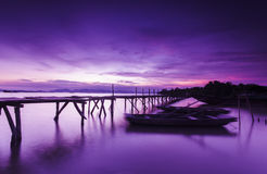 Bridge and lakes in night sky Stock Photo