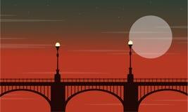 Bridge with lamp landscape at night. Vetcor illustration stock illustration
