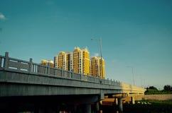 Bridge. Lamp streetlight building home city Stock Photos