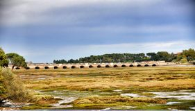 The bridge through the largest river in San Vicente de la Barquera Royalty Free Stock Image