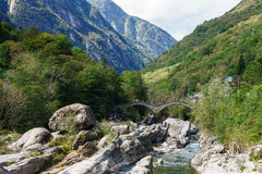 Bridge in Lavertezzo, Verzasca Valley Stock Photos