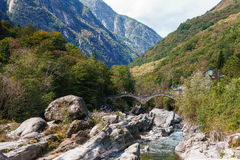Bridge in Lavertezzo, Verzasca Valley Stock Photography