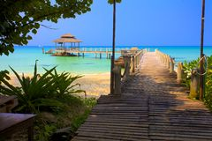 Bridge lead to tropical beach. Tropical island in Thailand Stock Photography
