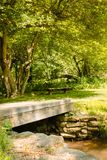 Bridge leading to a bench that sits in the shade of some trees. In a park on a summer day royalty free stock photos
