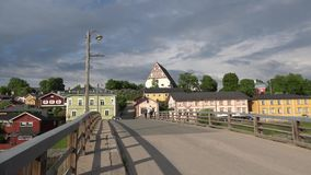 The bridge leading to the historic part of Porvoo, Finland stock video