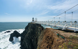 Bridge leading to the lighthouse at Point Bonita Marin County. Point Bonita lighthouse on the Marin County headlands near San Francisco in California protecting royalty free stock photography