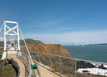 Bridge leading to the lighthouse at Point Bonita Marin County. Point Bonita lighthouse on the Marin County headlands near San Francisco in California protecting royalty free stock photo