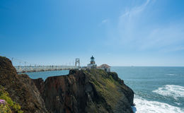 Bridge leading to the lighthouse at Point Bonita Marin County. Point Bonita lighthouse on the Marin County headlands near San Francisco in California protecting stock photo