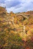 Bridge with leaves turning color in autumn in Naruko Gorge - Osaki, Miyagi, Japan royalty free stock photo