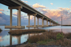 The Bridge at Leeville. Located on the Louisiana Gulf Coast, unique Leeville is a place like no other. The community is about 3 miles long with a population of royalty free stock photos
