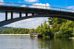 Bridge and the left bank of the Dnieper and a restaurant Royalty Free Stock Photography