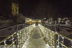 Bridge of light in the night in winter time. Bridge of light in the night in winter time Royalty Free Stock Images