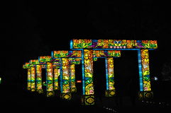 Bridge of Light. A series of bridges at Norfolk Botanical Garden made of papier mache and internal lights Royalty Free Stock Photos