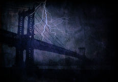 Bridge with lightning Royalty Free Stock Image