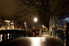Bridge with lights at annual Amsterdam Light Festival on December 30, 2013 Stock Photography