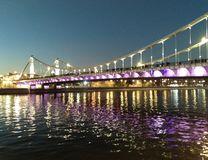 Bridge with lights. royalty free stock photos