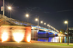 Bridge with lights in Frankfurt by night Stock Photo