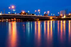 The bridge lights reflecting pool. phitsanulok  Stock Images